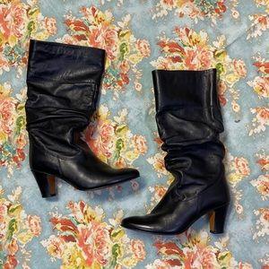 Aldo Tall Heeled Leather Boots Sz 9